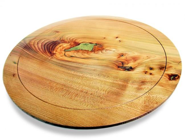 Wych Elm Platter with brass inlay